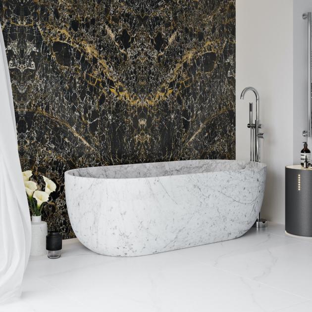 Zurich White Carrara - Freestanding Marble Bathtub