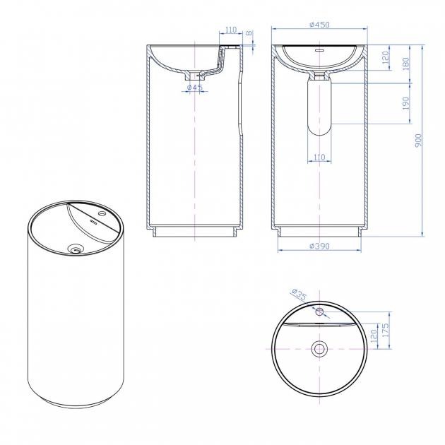 Dusk White - Solid Surface Freestanding Washbasin