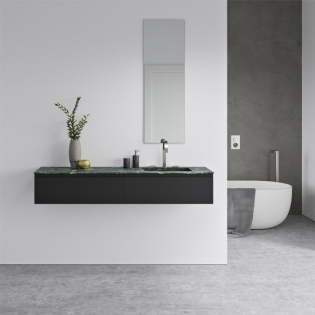 Alabama Verde Dicalio - Marble Vanity Top Single Washbasin