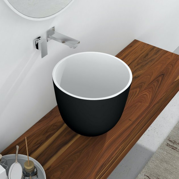 Alyssum Black & White - Solid Surface Counter Top Washbasin