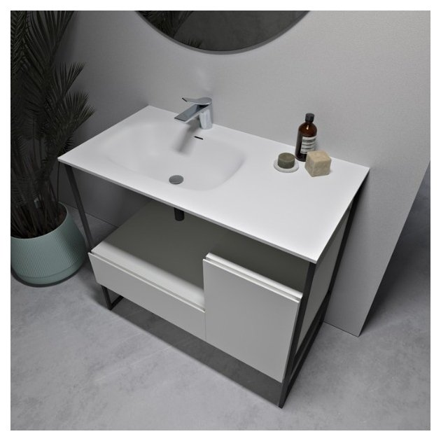 Amsterdam - Mobile Freestanding in MDF con Lavabo in Solid Surface