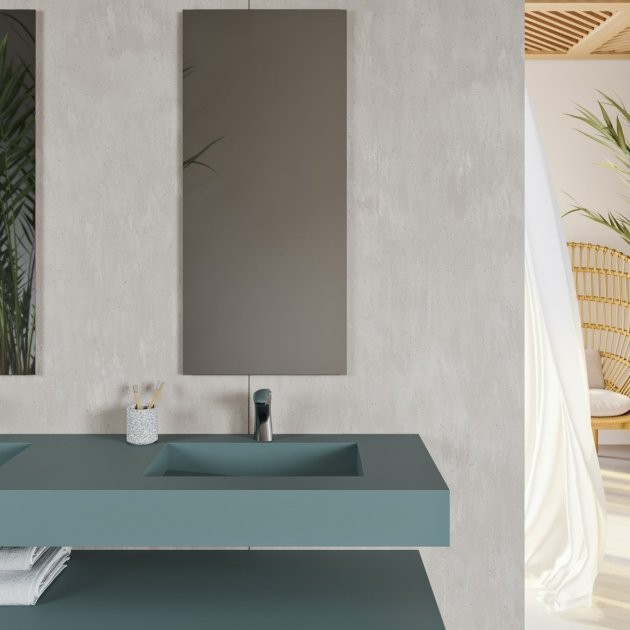 Area - Corian® Colour Wall Mounted Double Washbasin