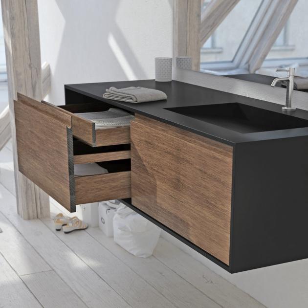 Atlanta - Mobile Sospeso in Legno con Lavabo Toronto in Corian® Colour - 2 cassetti