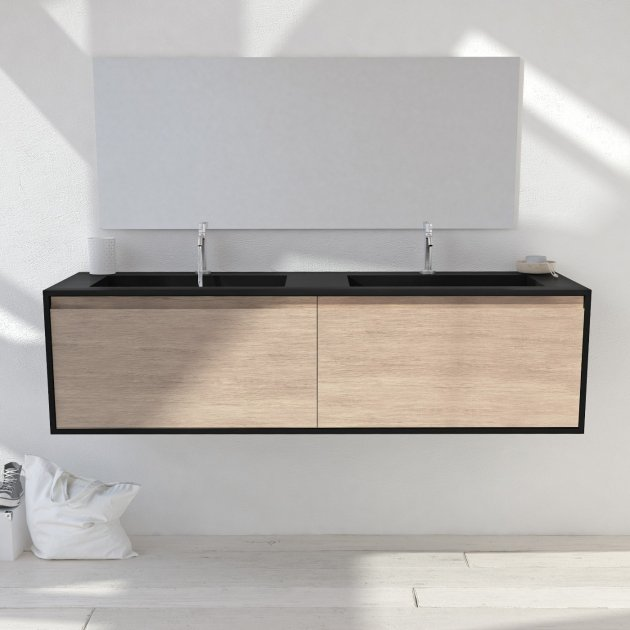 Corian® Colour Toronto Solid Oak - Wall Mounted Atlanta Vanity Unit 2 Drawers