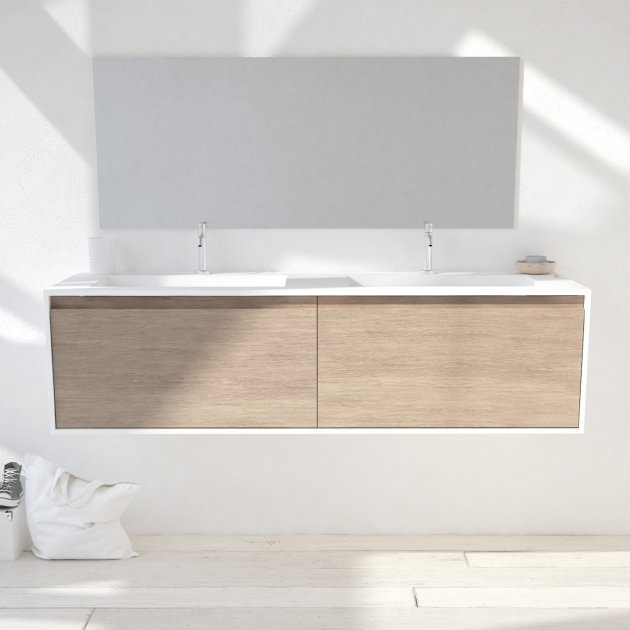 Corian® Glacier White Toronto Solid Oak - Wall Mounted Atlanta Vanity Unit