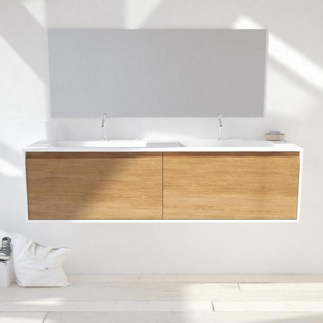 Corian® Glacier White Toronto Solid Oak - Wall Mounted Atlanta Vanity Unit