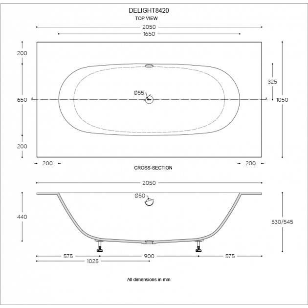 Delight 8420 - Built-in DuPont™ Corian® Bathtub