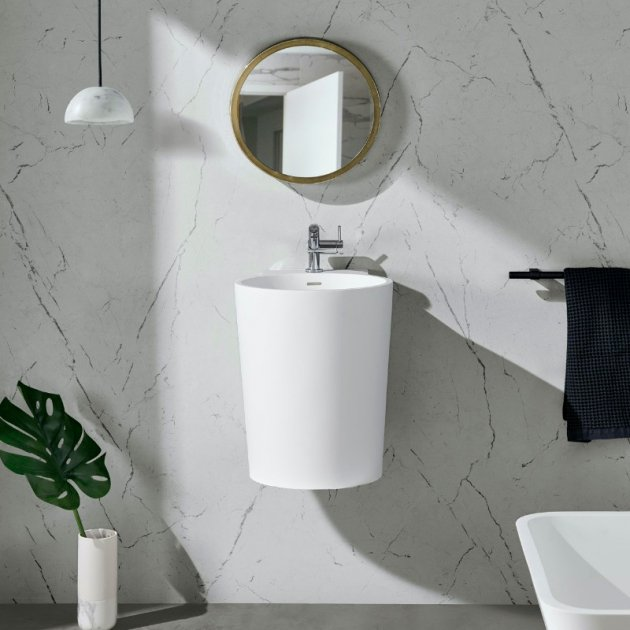 Bloom - Lavabo sospeso in Solid Surface