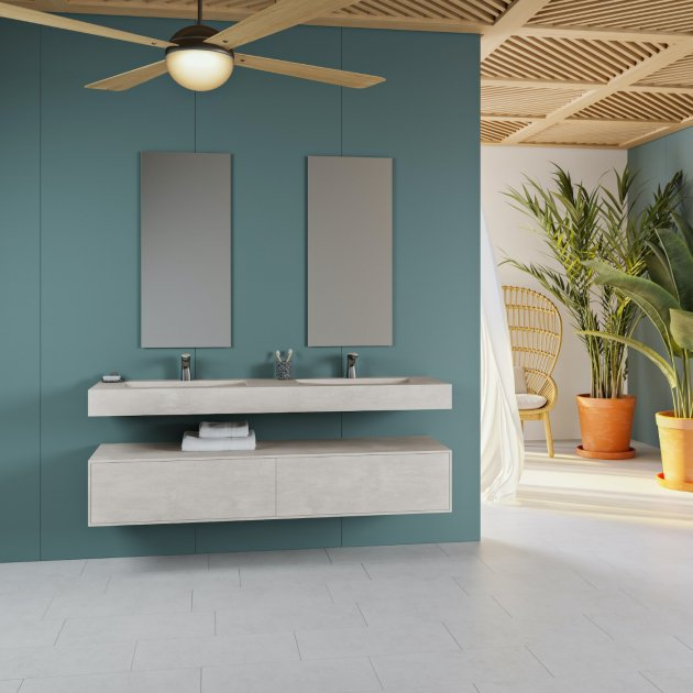 Canada - Corian® Colour Wall Mounted Double Washbasin