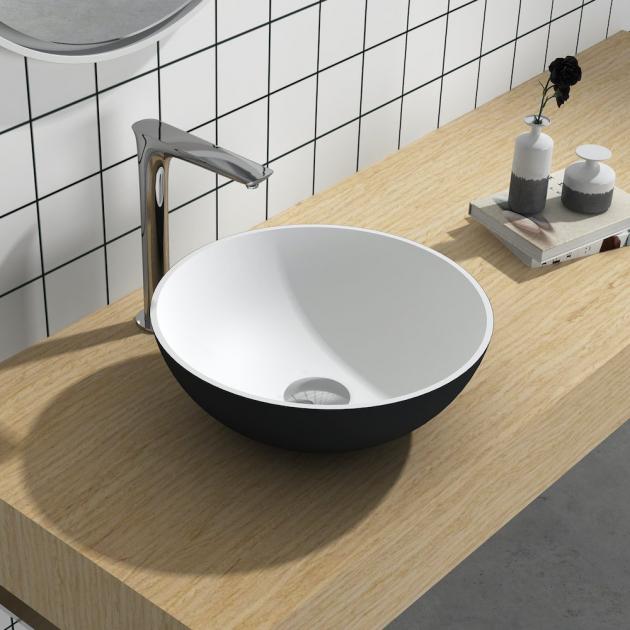 Cardo Black & White - Solid Surface Countertop Washbasin