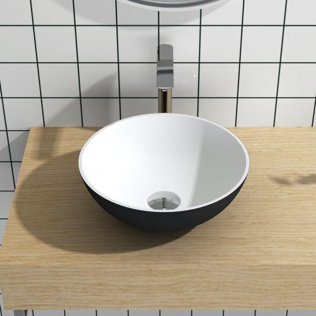 Cardo Black & White - Lavabo soprapiano in Solid Surface