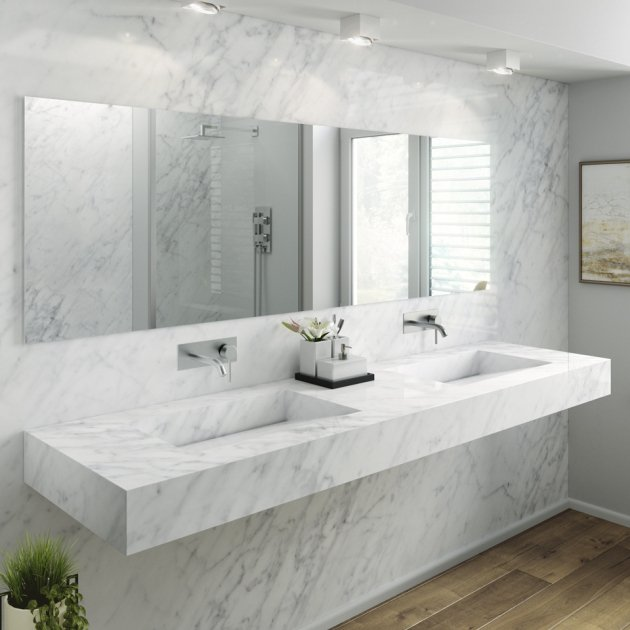 Carrara C1 - Marble Wall Mounted Double Washbasin
