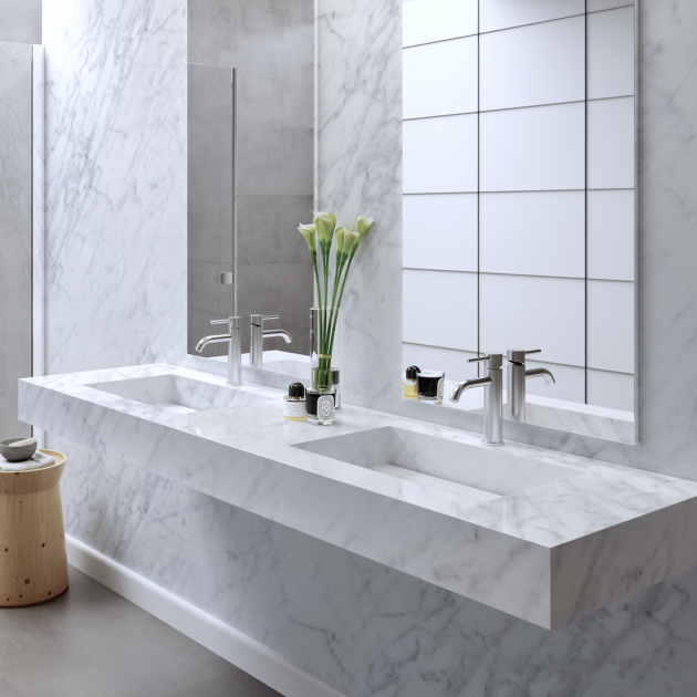 Carrara C2 - Marble Wall Mounted Double Washbasin