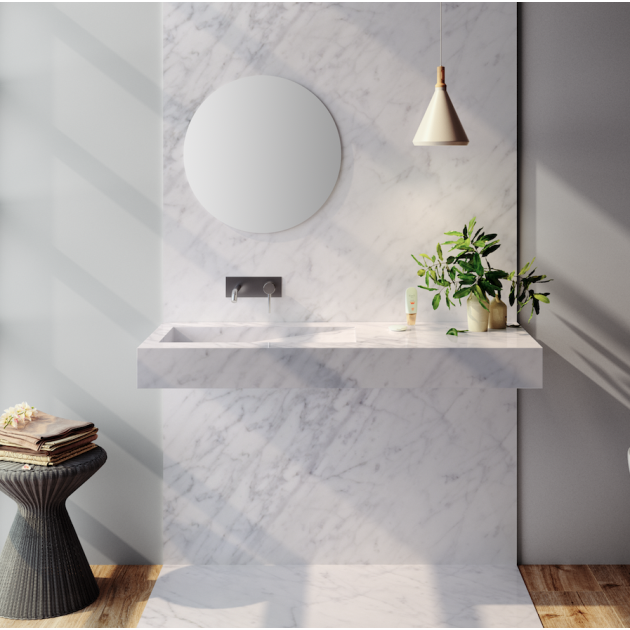 Carrara C3 - Marble Wall Mounted Washbasin