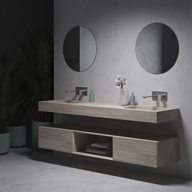 Corian® Colour Toronto - DuPont™ Wall Mounted Double Washbasin