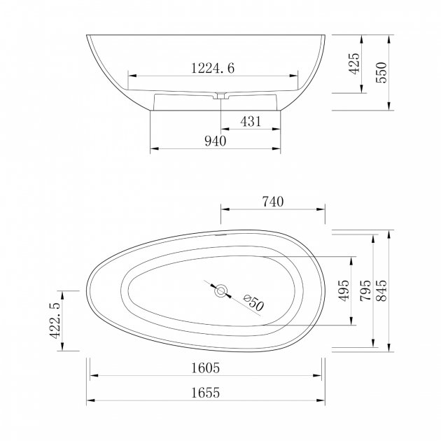 Concrete - Freestanding Solid Surface Bathtub