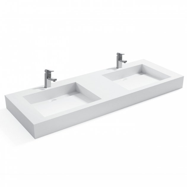 Consolea - Solid Surface Wall Mounted Double Washbasin