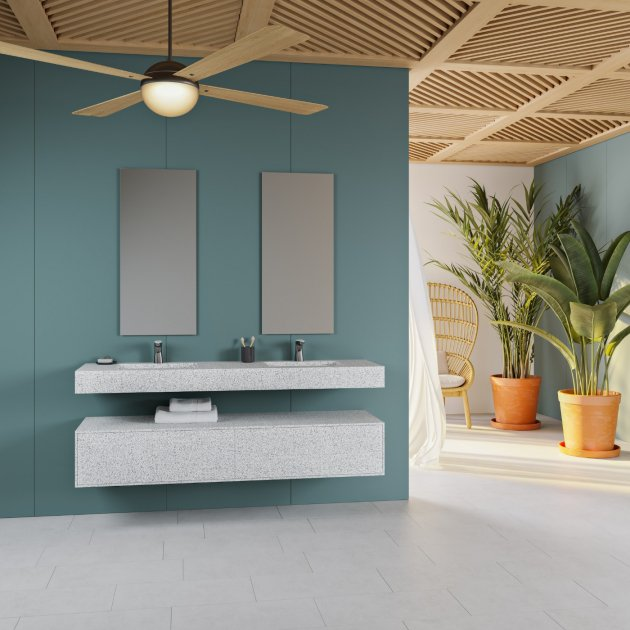 Alabama - Corian® Colour Wall Mounted Double Washbasin
