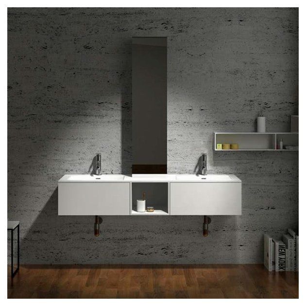 Dahlia - Wall Mounted Solid Surface Double Sink Vanity Unit