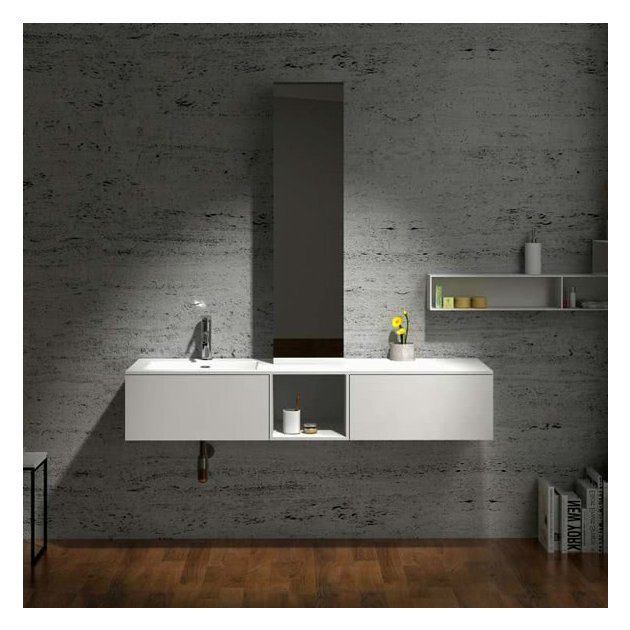 Dahlia - Wall Mounted Solid Surface Single Sink Vanity Unit