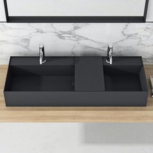 Daisy Black - Lavabo doppio soprapiano in Solid Surface