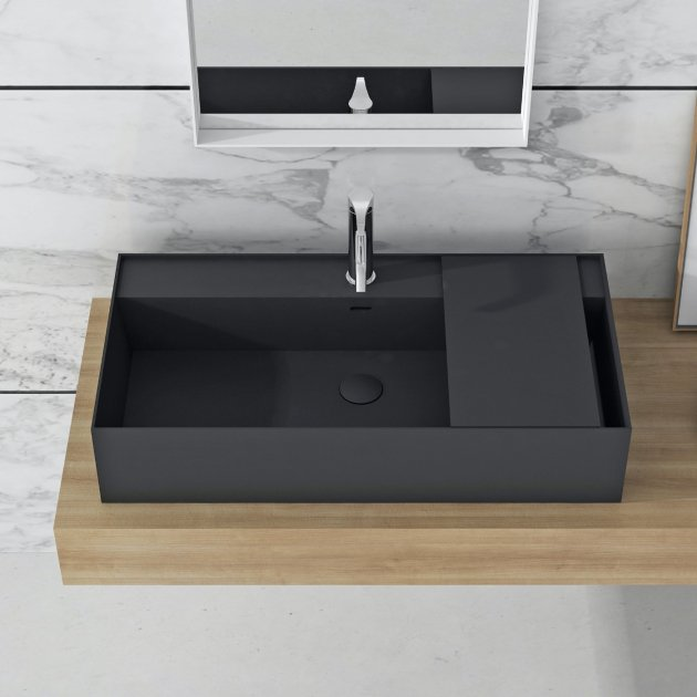 Daisy Black - Lavabo soprapiano in Solid Surface
