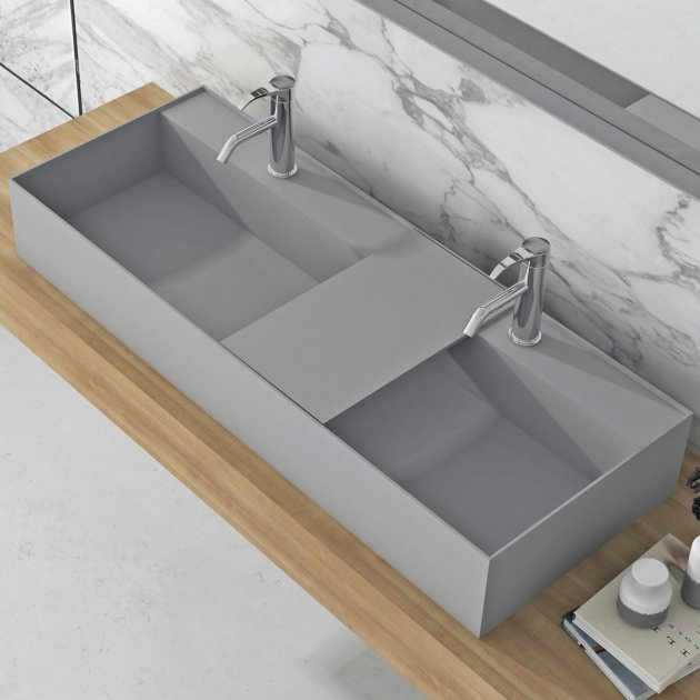 Daisy Grey - Lavabo doppio soprapiano in Solid Surface