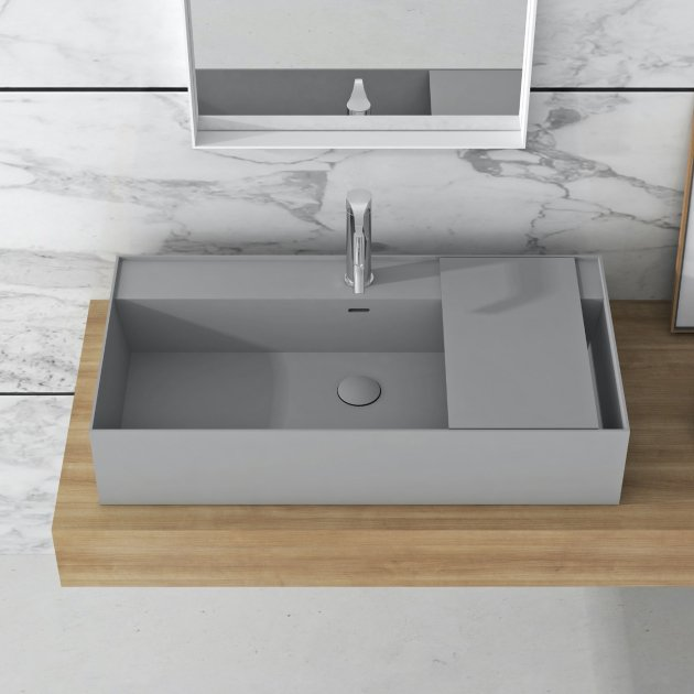 Daisy Grey - Lavabo soprapiano in Solid Surface