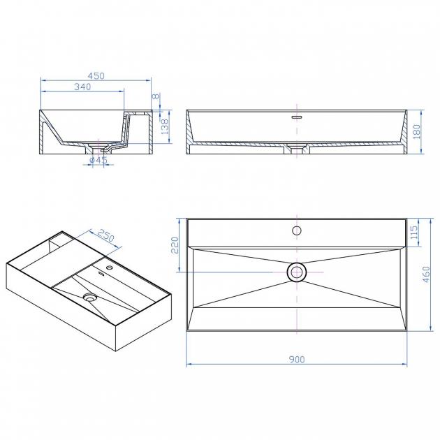 Daisy Grey - Solid Surface Countertop Washbasin