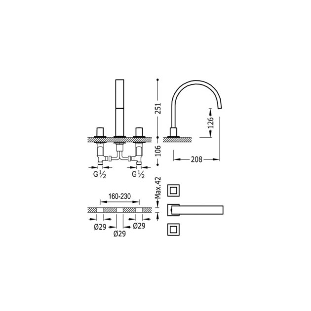 Deck Mounted Single Lever Kitchen Tap - 00810501