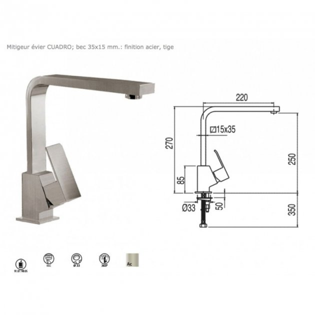 Deck Mounted Single Lever Kitchen Tap - 50644003
