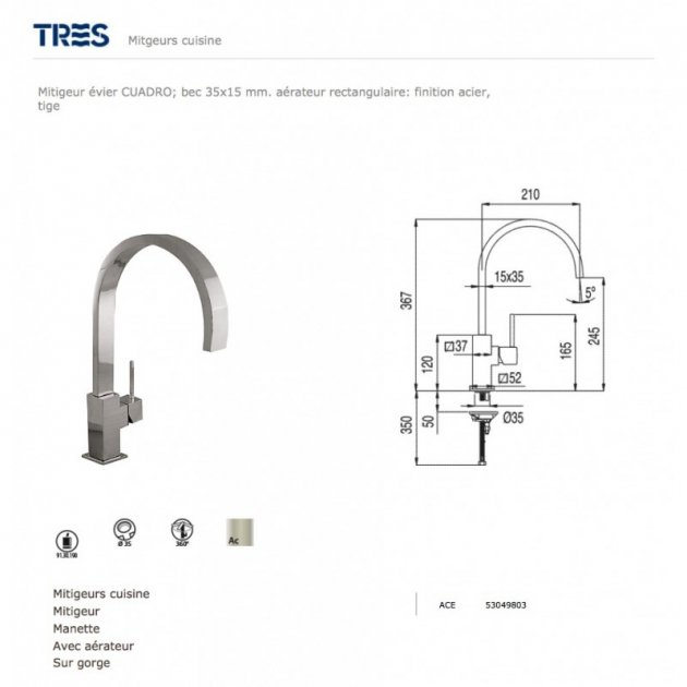 Deck Mounted Single Lever Kitchen Tap - 53049803