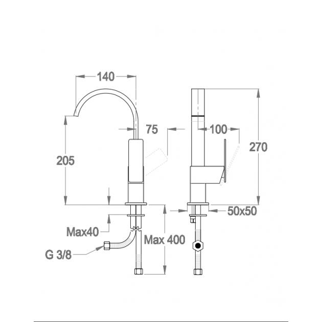 Deck Mounted Washbasin Tap - 85.1470.2/85.1470.5