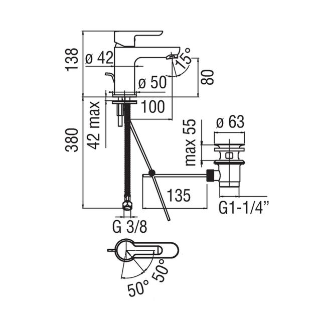 Deck Mounted Washbasin Tap - ABE87118/1CR