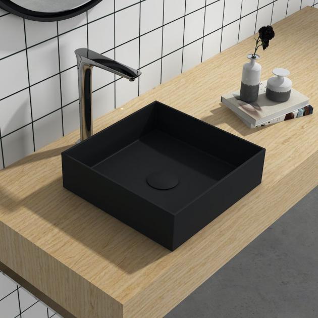 Erba Black - Solid Surface Countertop Washbasin