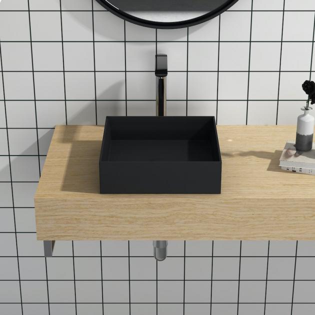 Erba Black - Lavabo soprapiano in Solid Surface