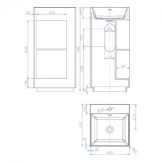 Glee - Solid Surface Freestanding Washbasin