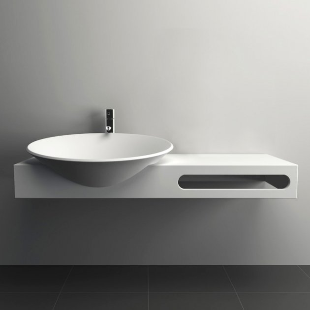Jamesia - Lavabo sospeso in Solid Surface