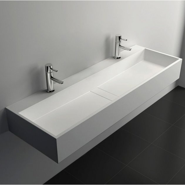 Lavatera - Lavabo sospeso in Solid Surface