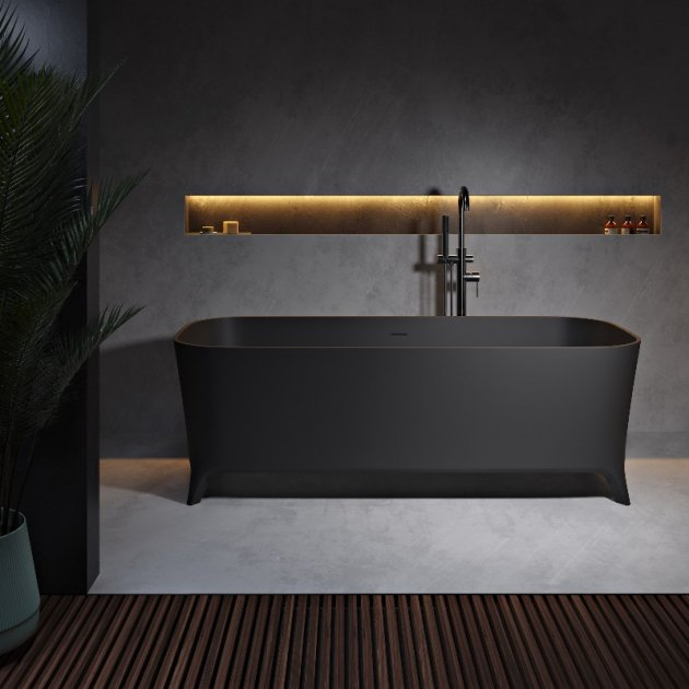 Lofty Black 180cm - Vasca da bagno indipendente in Solid Surface