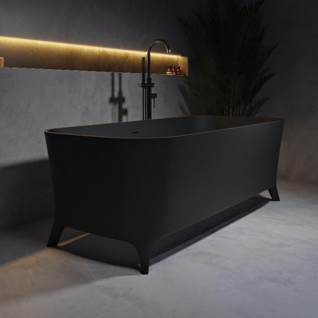 Lofty Black 160cm - Vasca da bagno indipendente in Solid Surface