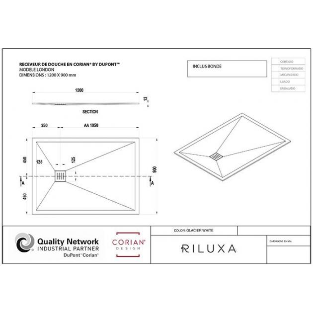 London - DuPont™ Corian® Ultra Slim Shower Tray 120x90