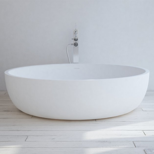 Lyon 135cm - Vasca da bagno indipendente in Solid Surface
