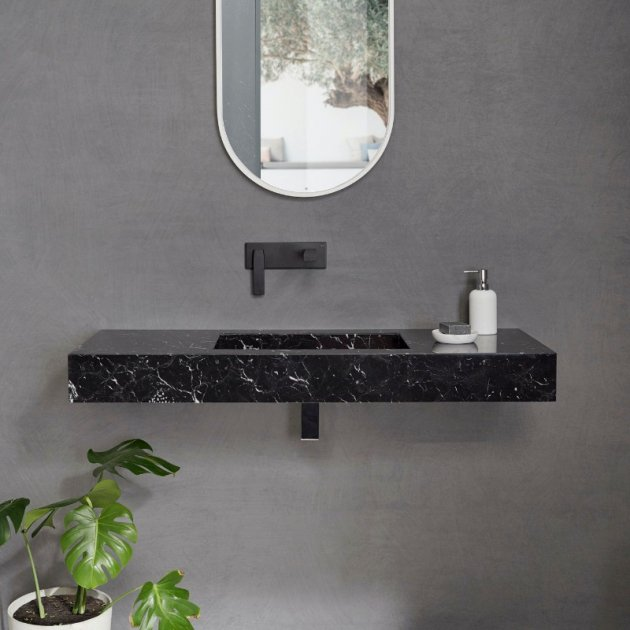 Marquina C1 - Marble Wall Mounted Washbasin