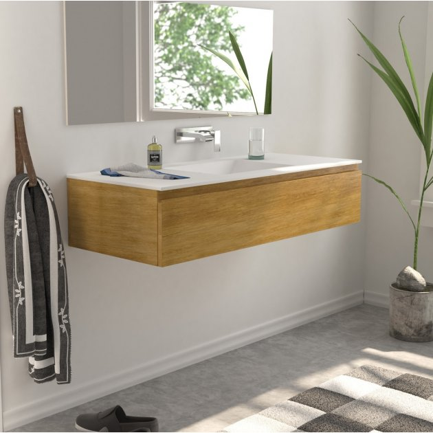 Modulo Wood - Wall Mounted Solid Oak Vanity Cabinet