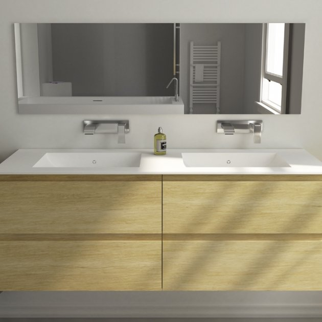 Modulo Wood - Wall Mounted Solid Oak Vanity Cabinet - 4 drawers
