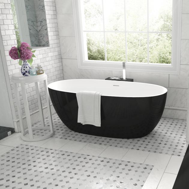 Nantes Mini Bicolore - Vasca da bagno indipendente in Solid Surface