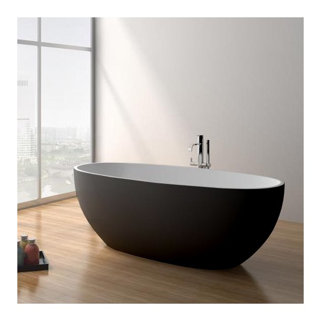 Nimes 165cm Black & White - Vasca da bagno indipendente in Solid Surface