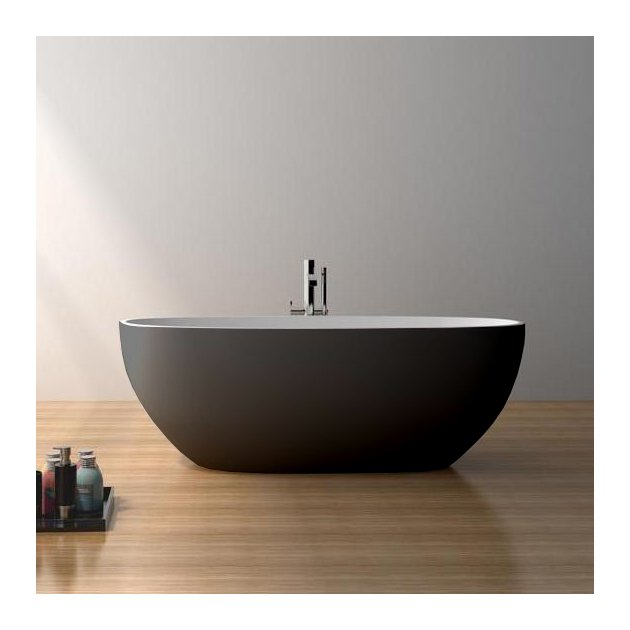 Nimes 178cm Black & White - Vasca da bagno indipendente in Solid Surface
