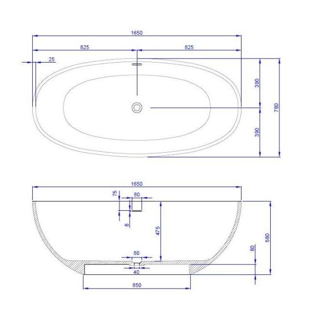 Nimes 165cm - Vasca da bagno indipendente in Solid Surface